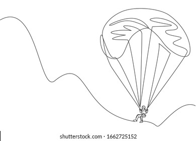 One single line drawing of young sporty man flying with paragliding parachute on the sky graphic vector illustration. Extreme sport concept. Modern continuous line draw design