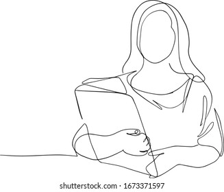 One single line drawing of young female worker tightly hugging the file she was carrying. Work depression concept continuous line draw design illustration. Business woman with folder one line design.