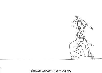 One single line drawing of young Japanese samurai warrior holding katana sword practicing at dojo center vector illustration graphic. Combative martial art concept. Modern continuous line draw design