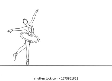 One single line drawing of young beauty dancer woman on tutu exercise classic ballet dance at ballet class vector illustration. Choreographic move concept. Modern continuous line draw design