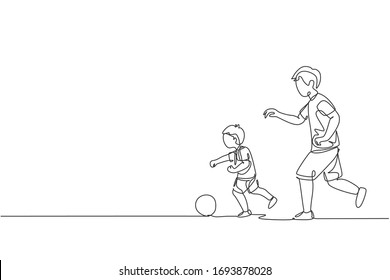 One single line drawing of young dad running and playing football soccer with his son in public field park vector illustration. Happy family parenting concept. Modern continuous line draw design