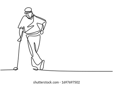 One single line drawing of young sporty golf player hit the ball using golf club vector illustration. Hobby sport concept. Good for golf tournament promotion media