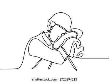 One single line drawing of young handyman wearing helmet and vest uniform fall asleep on bench. Repairman feel so tired and sleep after work. Building constructor concept continuous line draw design