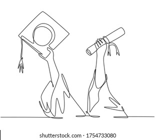 One single line drawing of young happy graduate college students lift up a graduation letter paper roll and cap. Graduate from school concept continuous line draw graphic design vector illustration