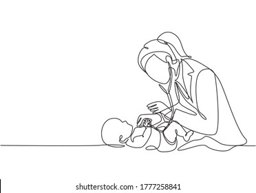 One single line drawing of young female pediatric doctor examining baby health condition and check the heart beat. Medical health care service concept continuous line draw design vector illustration