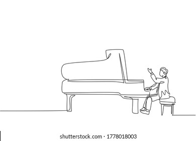 One single line drawing of young happy male pianist playing classic grand piano on music concert festival stage. Musician artist performance concept continuous line draw design vector illustration