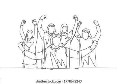 One single line drawing of young muslim business people show solid teamwork. Saudi Arabian businessmen with shmag, kandora, headscarf, thobe, ghutra. Continuous line draw design vector illustration