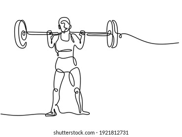 One single line drawing of young sportive man training lift barbell on bench press in sport gymnasium club center. Fitness stretching concept isolated on white background. Vector illustration