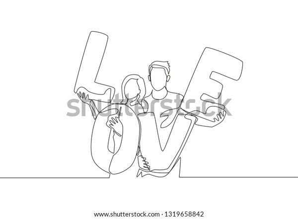One Single Line Drawing Young Happy Stock Vector (Royalty