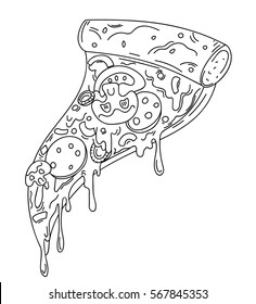 One slice of pizza, cartoon vector illustration