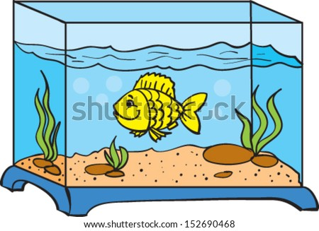 One Small Fish Aquarium Stock Vector Royalty Free 152690468
