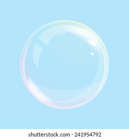 One soap bubble with transparent and opacity mask, quality illustration