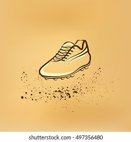 One Soccer Shoes. Vector retro drawing illustration.