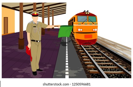 one staff with train at railway vector design