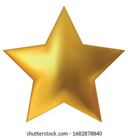 One star isolated on white background. Top View Close-Up Gold Star. vector illustration.