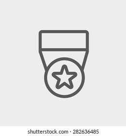 One star medal icon thin line for web and mobile, modern minimalistic flat design. Vector dark grey icon on light grey background.