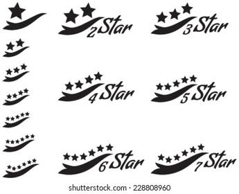 One star, Two star, Three star, Four star, 5 Star, Six star, Seven star black Vector Icon Design