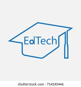 One of Startup Technology category is Education Technology ( EdTech) - text inside graduation hat sign / symbol / icon