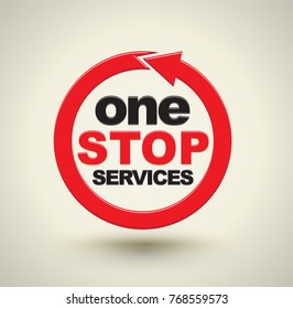 One stop services icon with red arrow circle. Vector illustration.