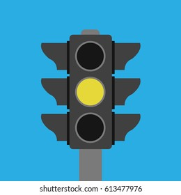 one stoplight Vector isolated & yellow symbol icon in the in middle. buttons in traffic light sign illustration. waiting, ready, go for transportation or business on blue flat design style background