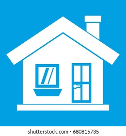 One story house with a chimney icon white. Illustration of one story house with a chimney icon isolated on blue background vector