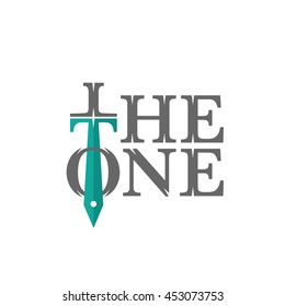 the one sword letter logo flat vector