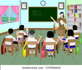 one teacher and students in class room vector design