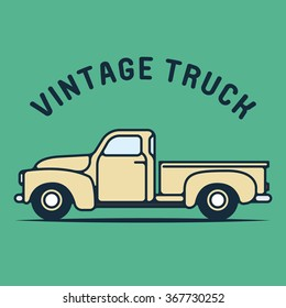 One thin line, flat vintage retro truck logo, vector illustration