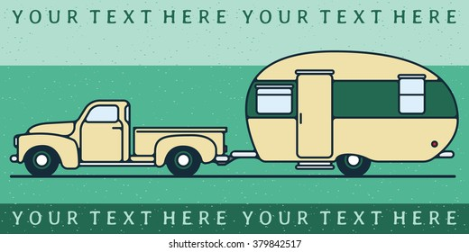 One thin line, flat vintage retro truck with camping trailer, vector illustration