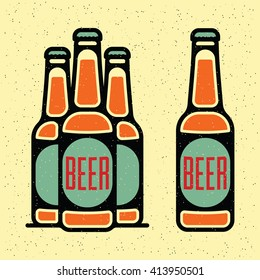 One thin line, flat vintage craft beer bottle. Vector illustration on grunge texture background