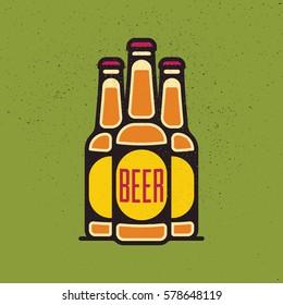 One thin line, flat vintage craft beer bottle. Vector illustration on grunge texture background