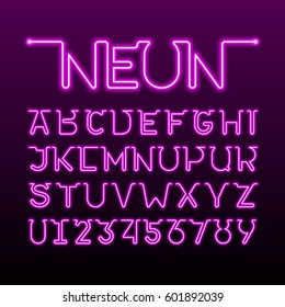 One thin single continuous line neon tube font. Alphabet and numbers, vector illustration.