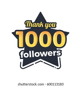 One thousand followers goal badge. Isolated vector thank you des