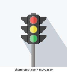 one traffic light sign flat design style with space & text here. stop, ready, drive & go for transportation or business. stoplight Vector isolated with green, red & yellow light colors & shadow