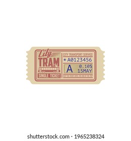 One trip single ticket on tram template isolated icon. Vector city transportation services pass, passenger boarding card on transport. Data of use, numbered perforated ticket, control cutting line