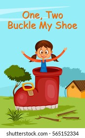 One Two Buckle My Shoe, Kids English Nursery Rhymes book illustration in vector