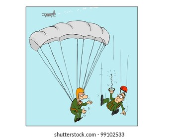 One of two parachutists left without a parachute
