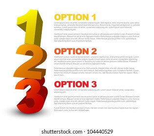 One two three - 3D vector progress icons for three  steps and their description