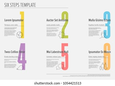 One two three four five six - vector light progress steps template with descriptions and icons