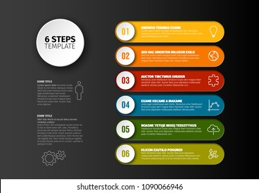 One two three four five six - vector progress steps template with descriptions and icons - dark version