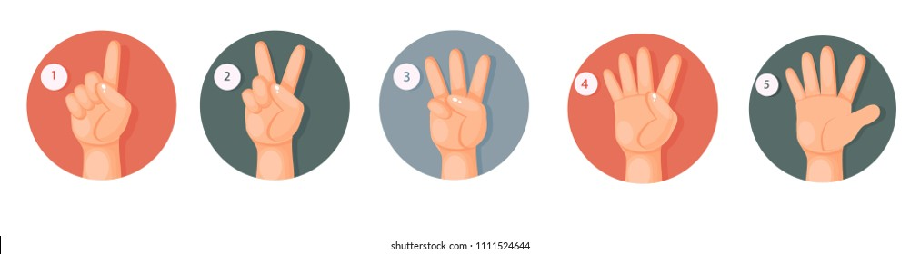 one, two, three, four, five fingers, count to five