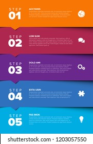 One two three four five - vector progress block steps template with descriptions and icons on horizontal blocks - color version