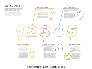 One two three four five - vector paper five steps progress template infochart blocks with sample content