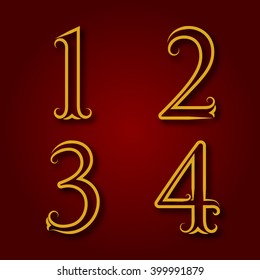 One, two, three, four golden vintage numbers with shadow. Numbers of lines with flourishes. Font in royal style.