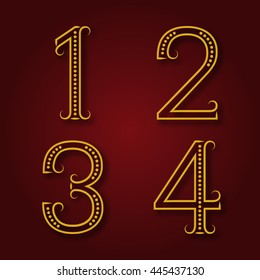 One, two, three, four golden numbers with shadow. Font of dots and lines with flourishes in art deco style.