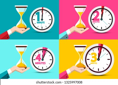 One, Two, Three, Four Minutes Clock Icons. Vector Time Symbol with Hourglass - Sand Clock in Human Hands.