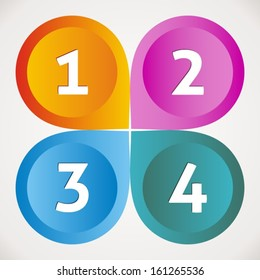 One two three four options vector colored icons