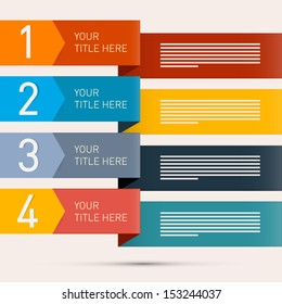 One, Two, Three, Four, Retro Vector Paper Progress Steps for Tutorial, Infographics