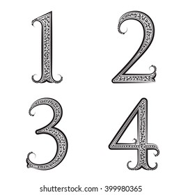 One, two, three, four vintage patterned numbers. Font in floral baroque style.