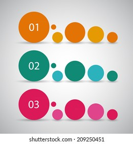 One two three, simple vector progress circles for tutorial, steps or options